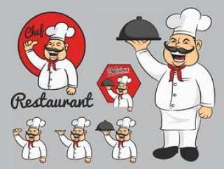 快乐的厨师卡通吉祥物竖起大拇指,按住这道菜