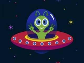 外星人在不明飞行物的插图