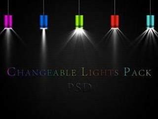 多色组合的炫彩射灯PSD分层