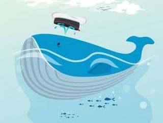 逗人喜爱的鲸鱼手拉的动画片