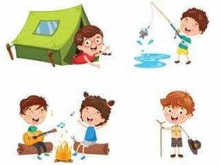 孩子露营的例证