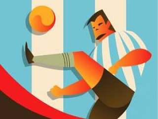 阿根廷足球运动员在行动