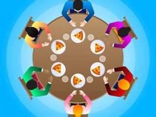 愉快的不同的家庭在圆的饭桌上的插图一起吃