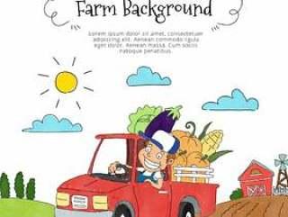 可爱的农民里面拿起蔬菜和农场的风景