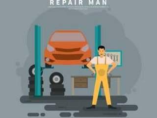 汽车服务例证的修理工