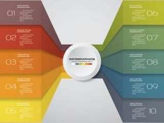 10个步骤的信息图表模板为您的演示文稿。