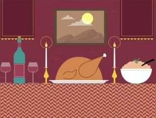 手绘矢量晚餐插画