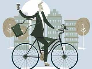 男商人骑自行车和杯咖啡到斯堪的纳维亚风格的办公室