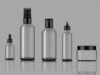 样机现实透明玻璃滴管和喷雾瓶护肤品