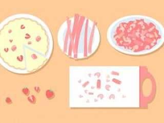 大黄和草莓馅饼 矢量