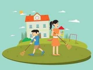 老师和学生清理院子矢量