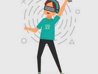 一个虚拟现实设备的人