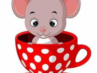 可爱的卡通老鼠在一杯