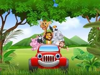 动画片在红色汽车的动物非洲