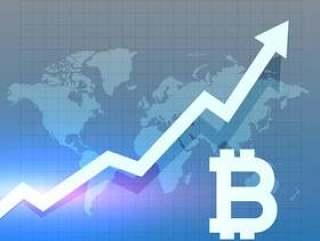 比特币增长图表矢量设计