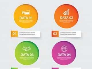 信息图表圈纸与4数据模板。