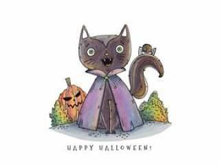 微笑与南瓜传染媒介的逗人喜爱的吸血鬼猫