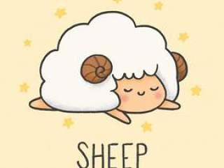 可爱的绵羊卡通手绘风格