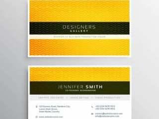 与黄色波浪形状的公司名片设计