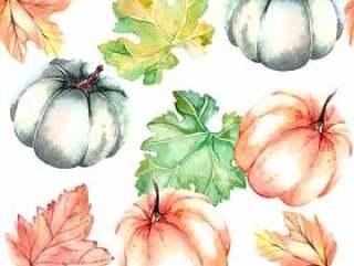 水彩无缝的秋天样式用南瓜和叶子