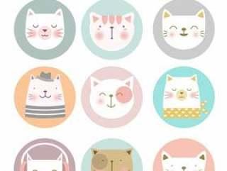 卡通动物图标设置猫头像矢量素材下载