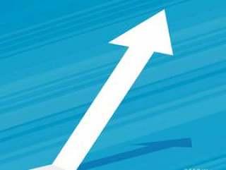 蓝色背景设计上升的箭头