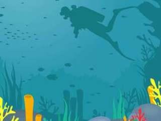 水肺潜水矢量图