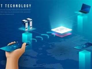 区块链技术元素未来设计矢量素材下载