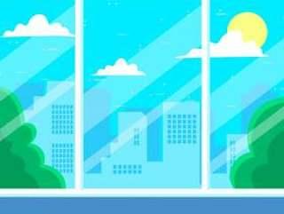 手绘矢量城市景观图