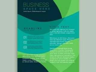 绿色和蓝色的小册子传单设计矢量