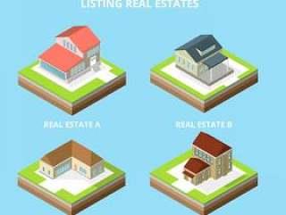 列出房地产等轴测矢量