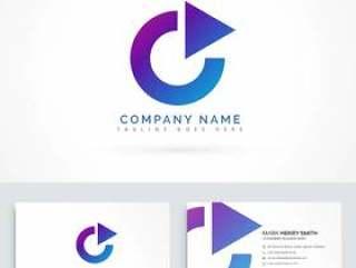 圆圈箭头三角形标志设计与制卡