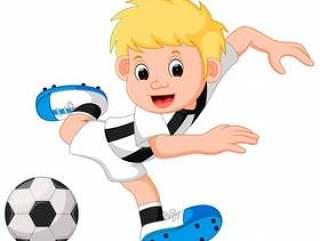 踢足球的愉快的男孩动画片