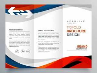 优雅的红色和蓝色波浪业务三折宣传册设计温度