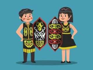 迪雅克人男人和女人与盾矢量图
