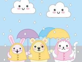 Kawaii兔子猫和老鼠与伞和雨衣动画片