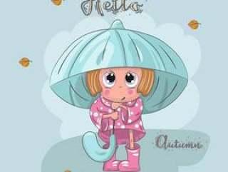 在动画片动画片伞下的逗人喜爱的女婴手拉