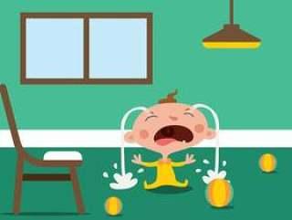 哭泣的卡通婴儿的传染媒介例证