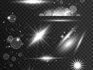 闪闪发光,灯光效果和镜头光晕在透明的万科设置