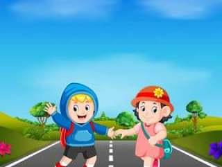 两个孩子在路上上学