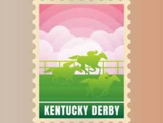 肯塔基德比明信片邮票模板