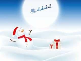 圣诞节背景与雪人和圣诞老人