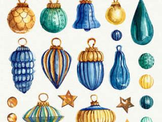 彩绘花纹圣诞吊球