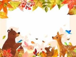 秋季动物留言卡