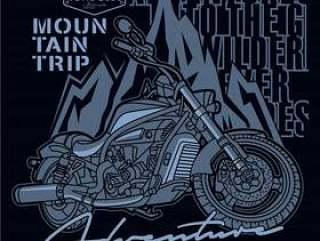 在山的冒险,摩托车传染媒介例证
