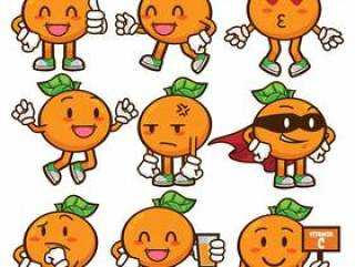 橙色水果吉祥物字符集