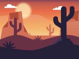 沙漠景观矢量设计