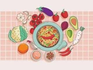 Molcajete和蔬菜矢量