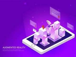 智能手机屏幕上的智能城市景观