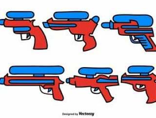 向量组的涂鸦水枪颜色图标